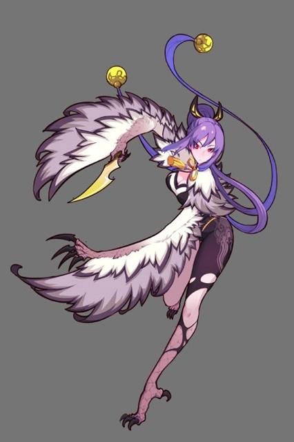 ▲紫鳥 ~雷属性~ 南山の鹿呉山にいて、雕(わし)のような鳥だが角が生えており、赤ん坊のような声で鳴くという。人を喰らうとされる。作品内での形態としては豹女の外見で細長い。羽根の装飾がある。武器は角形状の剣。