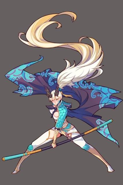 ~風属性~ 中国の伝説上の神獣、四神(四象)の1つ。東方青竜。蒼竜(そうりゅう)ともいう。作品内での形態は強気の女性。武器は棒。