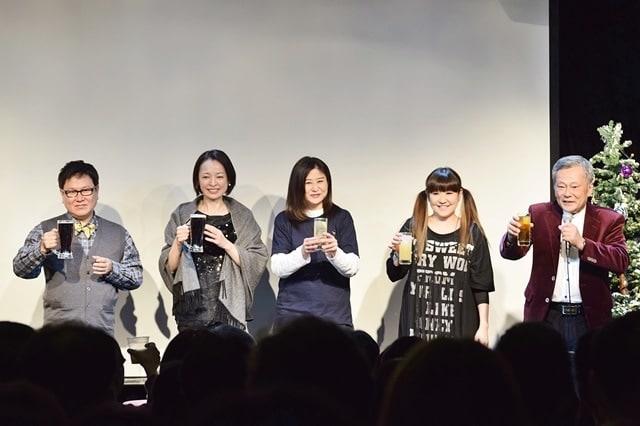 ▲左から三ツ矢雄二さん、鮎ゆうきさん、渕崎ゆり子さん、かないみかさん、池田秀一さん