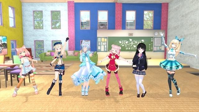 ▲左から猫宮ひなたさん、鈴木ヒナさん、電脳少女シロさん、田中ヒメさん、月ノ美兎さん、ミライアカリさん