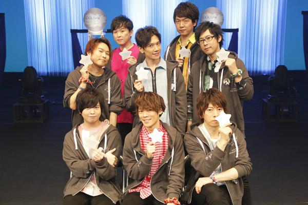 ▲下段左から斉藤壮馬さん、小野賢章さん、羽多野渉さん。中段左から代永翼さん、KENNさん、白井悠介さん。上段左から保志総一朗さん、立花慎之介さん