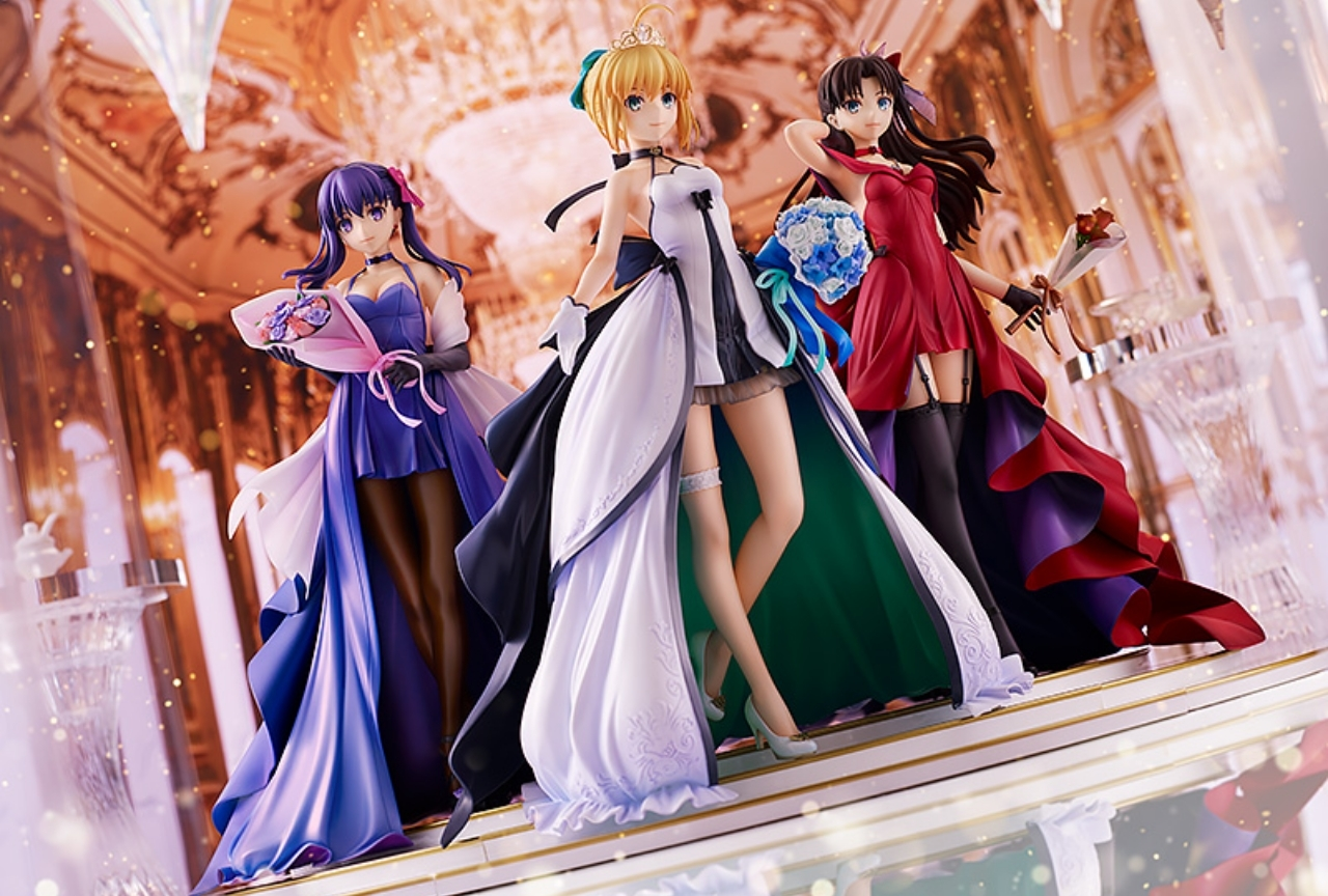 「Fate/stay night」ドレス姿のセイバー、遠坂凛、間桐桜がフィギュア化!