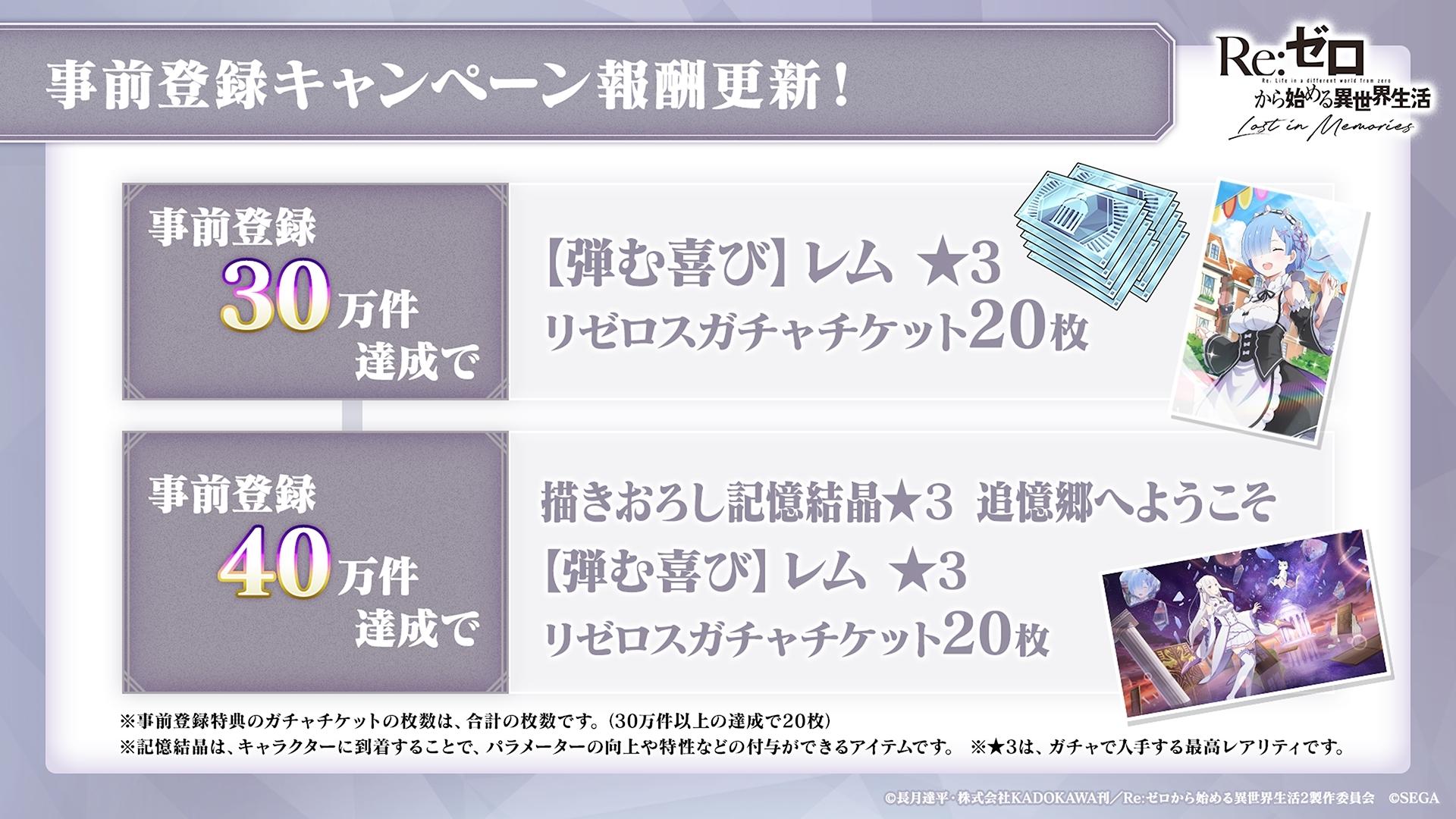 『Re:ゼロから始める異世界生活Lost in Memories』公式生放送「リゼロス通信」第2回の発表内容を速報!