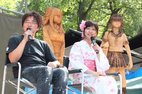 井出安軌監督と風見みずほ役の井上喜久子さんが、『おねがい』シリーズの聖地・木崎湖でトークショーに出演!