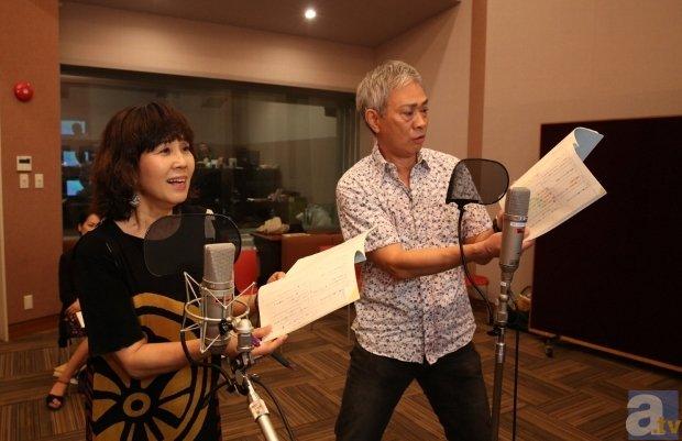 ▲アフレコ時の島本須美さんと<br>大友龍三郎さん