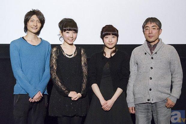 ▲先行上映会に出演した、左から<br>島崎信長さん、木戸衣吹さん、<br>鳴海杏子さん、望月智充監督