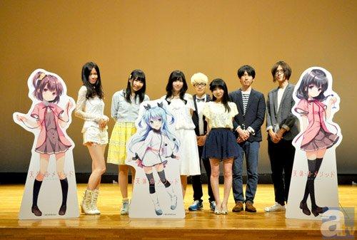 ▲左からLarval Stage Planning、<br>夏川椎菜さん、佳村はるかさん、<br>fhana(4名)
