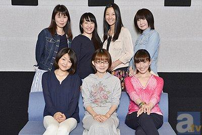 (後列左から)高野直子さん、植田佳奈さん、伊藤静さん、松来未祐さん (前列左から)斎藤千和さん、門脇舞以さん、名塚佳織さん