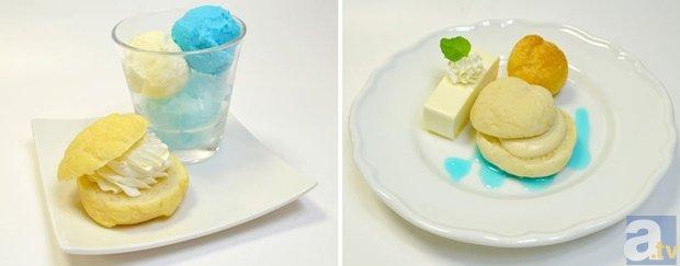 西谷・田中のデザートプレート(写真左)、青城3年生メンバーのデザートプレート(写真右)