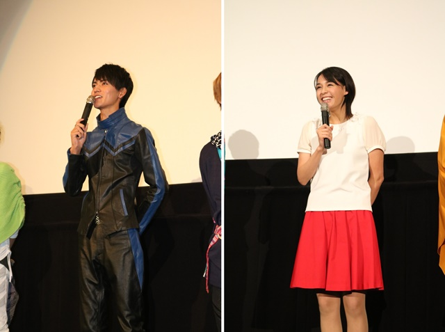 ▲左から、月村アカリ 役 大沢ひかるさん、仮面ライダースペクター/深海マコト 役 山本涼介さん