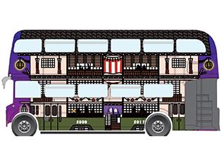 """『夜は短し歩けよ乙女』劇中に登場する""""李白さんの三階建電車""""を再現したラッピングバスの運行が決定!"""