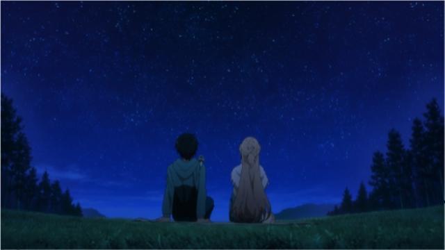 ▲堂平山で星を見ながら話す、主人公・キリトと、ヒロイン・アスナ