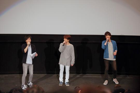 ▲第1話先行上映会より。当日は、メインキャストの木村良平さん、濱健人さん、榎木淳弥さんが登壇