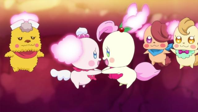 ▲引地さんの演じる妖精「ヤパパ」は、右から二人目。片目を髪で隠しているキャラ。 (『キラキラ☆プリキュアアラモード』第21話より)