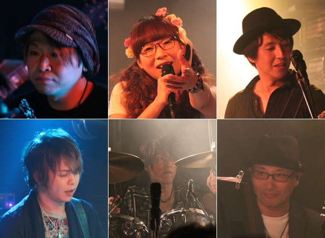 ▲上段左から、菊地創さん(Key)、riyaさん(Vo)、朝井泰生さん(Gt)<br />下段左から、CHAKAさん(B)、JOEさん(Drs)、安齋孝秋さん(Pf)