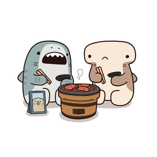 アプリやコミックスでも大人気の『サメーズ』新作LINEスタンプが発売! 弱肉強食の世界をゆるーく生きている不思議なサメたちのスタンプをゲットしよう-2