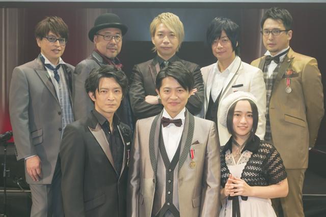 ▲後列左から緑川光さん、大川透さん、諏訪部順一さん、遊佐浩二さん、安元洋貴さん。前列左から津田健次郎さん、下野紘さん、悠木碧さん