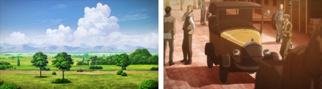 ▲背景美術だけでなく、国ごとに色合いも異なるように制作されているため、国の中と外でも映像の雰囲気が異なる。