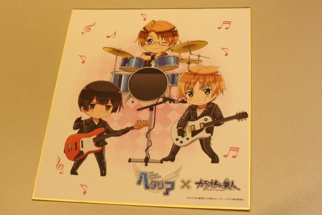 バンドごとにキャラクターが描かれた色紙は、全3種。グッズは全てランダム封入に