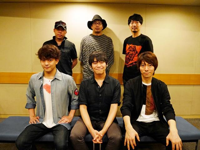 ▲後列左から日野聡さん、安元洋貴さん、小西克幸さん。前列左から石川界人さん、古川慎さん、羽多野渉さん