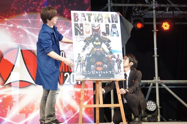 ▲バットマンに従うように、歴代のロビン達もニンジャスタイルで集結!<br />中でも「レッドフード」が「赤い虚無僧」にアレンジされているのが面白い