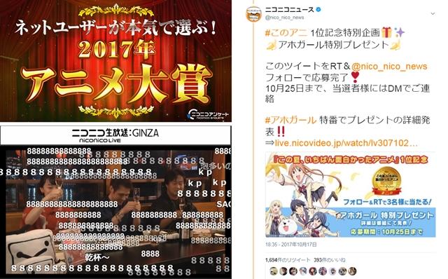 「ネットユーザーが本気で選ぶ!2017年アニメ大賞」12月28日実施決定