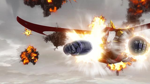 ▲武器(1)ロケットパンチ:ロケット噴射で、リーチの長さに関係なく敵を殴る必殺の鉄拳。現実には強くない子どもでも「ロケットパンチだったら遠くの相手もやっつけられると思ってくれるのでは?」と考えた永井豪先生の発想から生まれたキメ技。