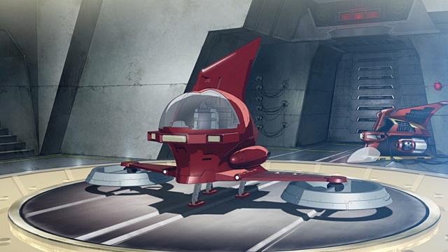 ▲頭部に合体する小型飛行メカ・パイルダー