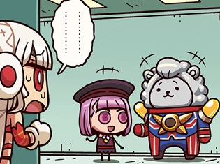 WEB漫画『ますますマンガで分かる!Fate/Grand Order』第28話更新!エジソンと談笑するエレナ。アルテラは、なぜか複雑な表情