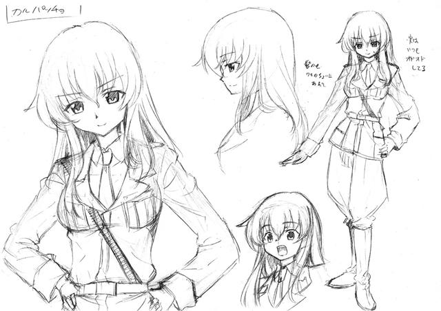 ▲コミカライズでは厳しい性格で描かれたアンチョビに対し、彼女をよくサポートする副キャプテンとして描かれたカルパッチョの初期ラフ。才谷屋先生のオリジナルキャラが、OVA『これが本当のアンツィオ戦です!』でアニメに登場、一躍人気キャラに!