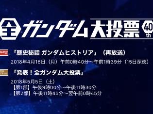 NHK特番『全ガンダム大投票 40th』キャラクターベスト10中間発表!3位アムロ、2位オルガ、1位はあのキャラ!