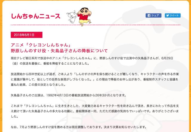 『クレヨンしんちゃん』野原しんのすけ役・矢島晶子さんが降板を発表