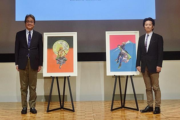 ▲左から国立新美術館長・青木保氏、荒木飛呂彦先生