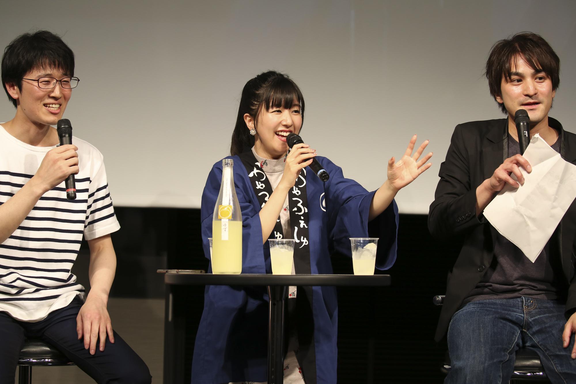 ▲左から江崎正尚マネージャー、茅野愛衣さん、長谷憲プロデューサー