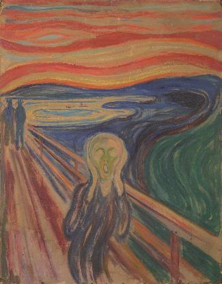 ▲エドヴァルド・ムンク《叫び》1910 年? テンペラ・油彩、厚紙 83.5×66cm