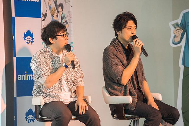 ▲東谷准太役・小野友樹さん(左)と西條高人役・高橋広樹さん(右)
