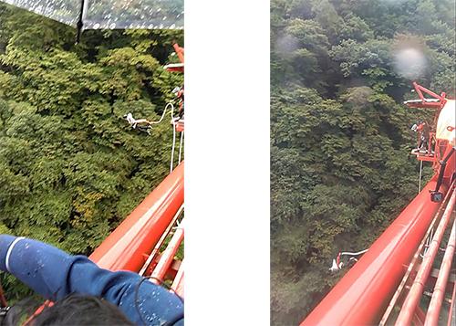 ▲バンジー挑戦中の輝山さん(左)と横尾さん(右)